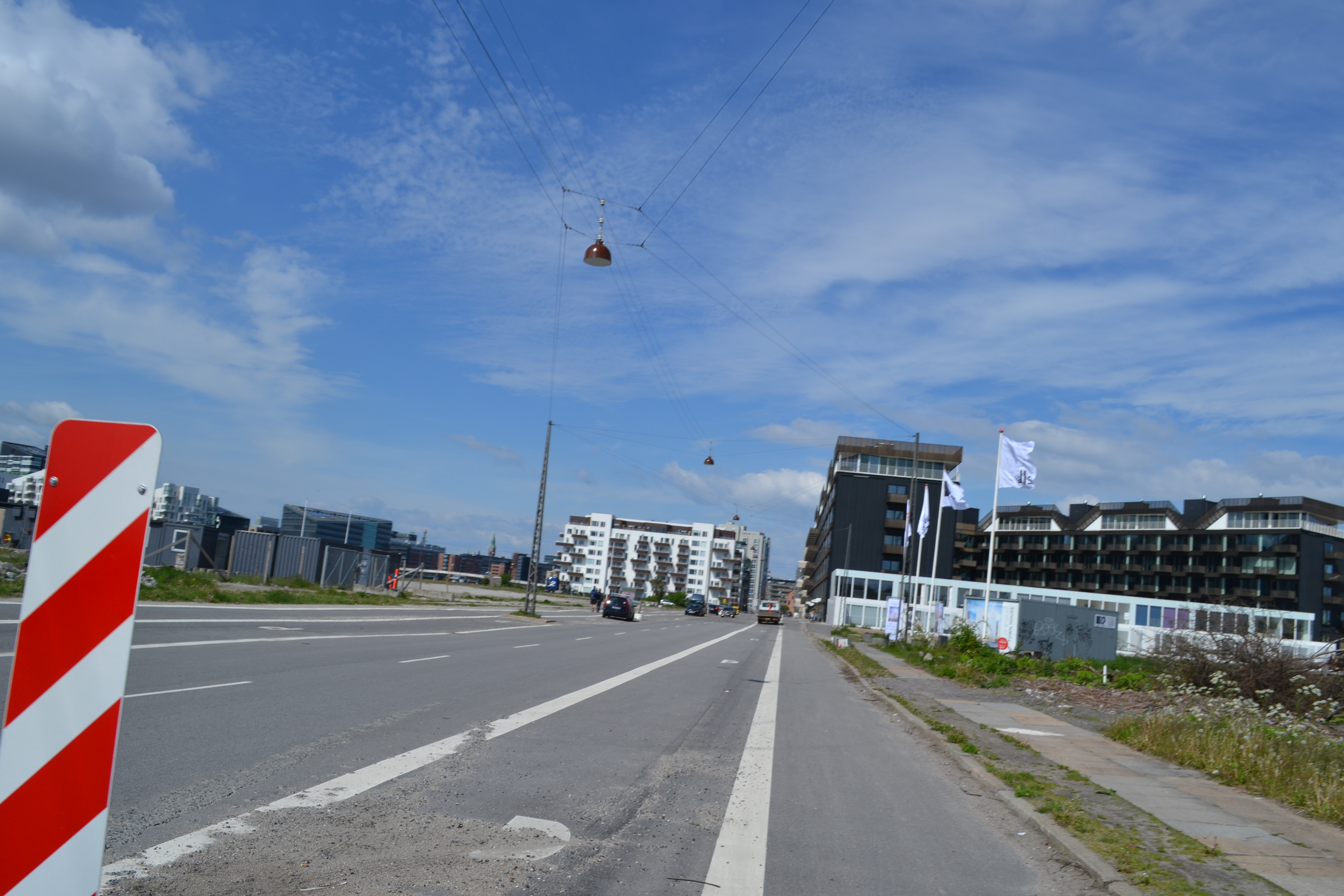 New development area with already existing bicycle lane