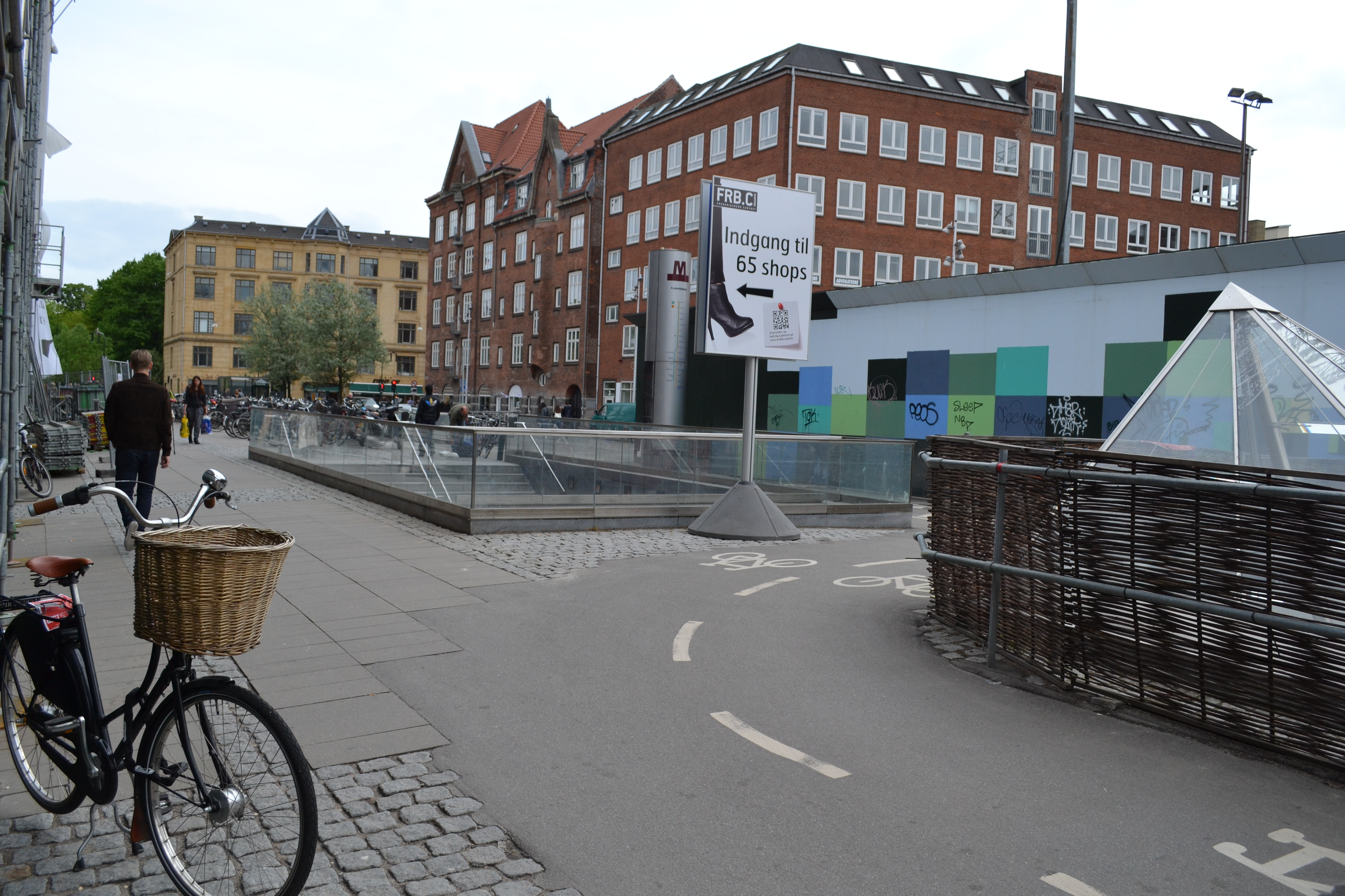 Bicycle lane in construction area