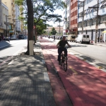 Partially segregated bicycle lane