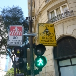 Cyclists dismount for crossing